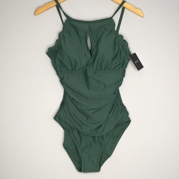 391dd4a752326 Ellen Tracy Swim | Nwt Green Halter Onepiece Suit 12 | Poshmark